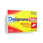DolipraneTabs 1000 mg paracétamol - Boite de 8 comprimés