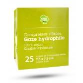 Compresses stériles gaze hydrophile 7,5 cm x 7,5 cm - Marque verte
