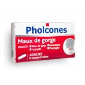 Pholcones maux de gorge adultes - Boite de 8 suppositoires