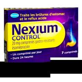 Nexium control 20 mg brûlures d'estomac - Boite de 7 comprimés