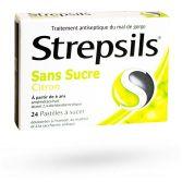 Strepsils pastilles citron sans sucre - 24 pastilles à sucer