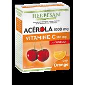 Herbesan Acérola 1000 mg Vitamine C 180 mg goût orange - 30 comprimés à croquer
