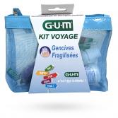 GUM Kit voyage gencives fragilisées - Brosse à dents, brossettes, dentifrice, bain de bouche